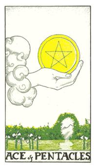 通用伟特塔罗牌 - Universal Waite Tarot - 钱币A - Ace Of Pentacles