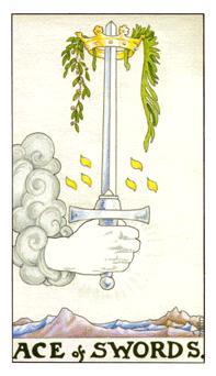 通用伟特塔罗牌 - Universal Waite Tarot - 宝剑A - Ace Of Swords
