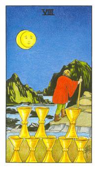 通用伟特塔罗牌 - Universal Waite Tarot - 圣杯八 - Eight Of Cups
