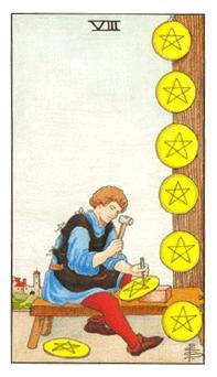 通用伟特塔罗牌 - Universal Waite Tarot - 钱币八 - Eight Of Pentacles