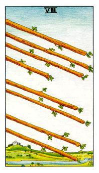 通用伟特塔罗牌 - Universal Waite Tarot - 权杖八 - Eight Of Wands