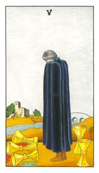 通用伟特塔罗牌 - Universal Waite Tarot - 圣杯五 - Five Of Cups