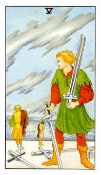 通用伟特塔罗牌 - Universal Waite Tarot - 宝剑五 - Five Of Swords