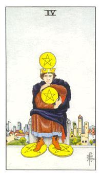 通用伟特塔罗牌 - Universal Waite Tarot - 钱币四 - Four Of Pentacles