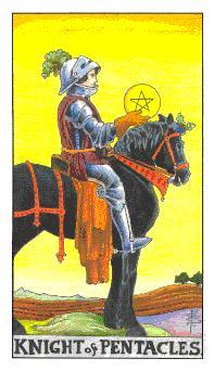通用伟特塔罗牌 - Universal Waite Tarot - 钱币骑士 - Knight Of Pentacles
