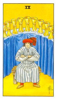 通用伟特塔罗牌 - Universal Waite Tarot - 圣杯九 - Nine Of Cups