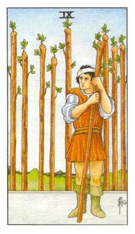 通用伟特塔罗牌 - Universal Waite Tarot - 权杖九 - Nine Of Wands