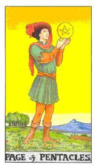 通用伟特塔罗牌 - Universal Waite Tarot - 钱币侍从 - Page Of Pentacles