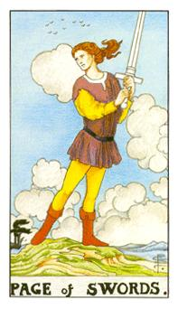 通用伟特塔罗牌 - Universal Waite Tarot - 宝剑侍从 - Page Of Swords