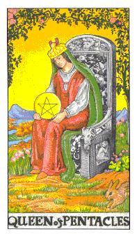 通用伟特塔罗牌 - Universal Waite Tarot - 钱币王后 - Queen Of Pentacles
