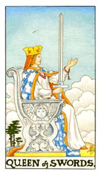 通用伟特塔罗牌 - Universal Waite Tarot - 宝剑王后 - Queen Of Swords