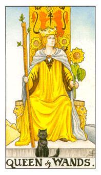 通用伟特塔罗牌 - Universal Waite Tarot - 权杖王后 - Queen Of Wands