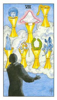通用伟特塔罗牌 - Universal Waite Tarot - 圣杯七 - Seven Of Cups