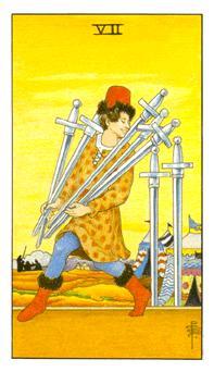 通用伟特塔罗牌 - Universal Waite Tarot - 宝剑七 - Seven Of Swords