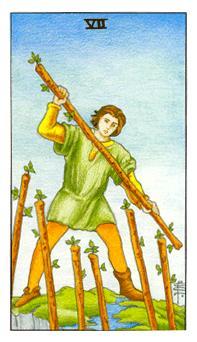 通用伟特塔罗牌 - Universal Waite Tarot - 权杖七 - Seven Of Wands