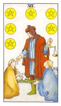 通用伟特塔罗牌 - Universal Waite Tarot - 钱币六 - Six Of Pentacles