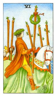 通用伟特塔罗牌 - Universal Waite Tarot - 权杖六 - Six Of Wands