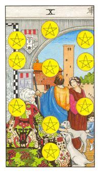 通用伟特塔罗牌 - Universal Waite Tarot - 钱币十 - Ten Of Pentacles