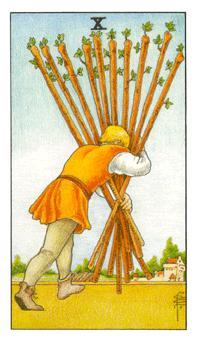 通用伟特塔罗牌 - Universal Waite Tarot - 权杖十 - Ten Of Wands