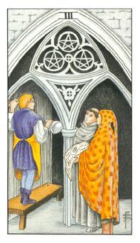 通用伟特塔罗牌 - Universal Waite Tarot - 钱币三 - Three Of Pentacles