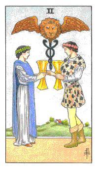通用伟特塔罗牌 - Universal Waite Tarot - 圣杯二 - Two Of Cups