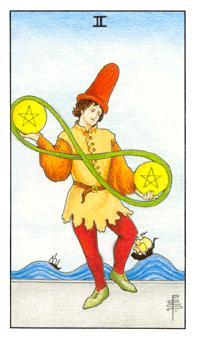 通用伟特塔罗牌 - Universal Waite Tarot - 钱币二 - Two Of Pentacles