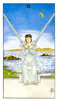 通用伟特塔罗牌 - Universal Waite Tarot - 宝剑二 - Two Of Swords
